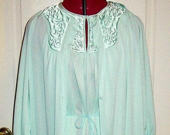 Vintage 1960s Ladies Blue Nightgown & Robe Peignoir Set Medium Only 10 USD