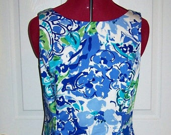 Vintage Ladies Blue Floral Print Sleeveless Dress by Chaps Size 10 Only 8 USD