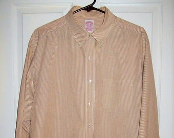 166a7e92 Vintage Mens Old Gold & White Striped Long Sleeve Button Down Shirt by Brooks  Brothers XL 17 1/2