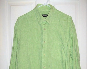 eae6b615ec Vintage Mens Green LINEN Long Sleeve Shirt by Orvis Button Front Large ONly  7 USD