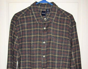 Vintage Mens Gray Plaid Flannel Shirt by Basic Editions Large Only 8 USD