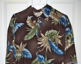 19e42cf00 Vintage Mens Brown & Blue Tropical Print Short Sleeve Aloha Shirt Button  Down by Campia Moda Large Only 9 USD
