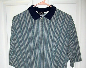 215f47eed78 Vintage Mens Blue & Gray Striped Polo Golf Shirt Chip Beck Collection Large  Only 9 USD
