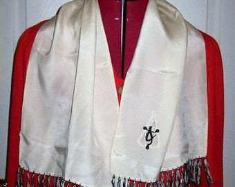 Antique 1910s Edwardian Orientalism Black & White Fringed Silk Scarf Only 10 USD