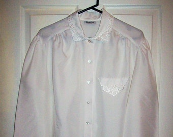 424577e018a82d Vintage 1970s Ladies White Long Sleeve Secretary Blouse Button Down w/  Embroidery Trim by Rhapsody Extra Large 18/20 Only 6 USD