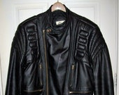 Vintage Black Leather Cafe Racer Motorcross Jacket by Bermans the Leather Experts Size 40 Only 45 USD
