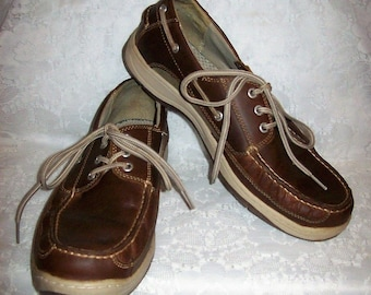 19ce9d23b7b53 Vintage Mens Brown Leather Front Tie Casual Oxfords Boat Deck Shoes by  Dockers Size 11 Only 14 USD