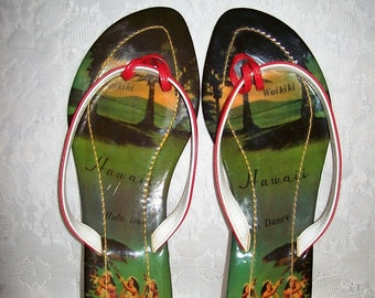 Vintage Ladies Flip Flops Slip On Hawaiian Sandals by Hula Girl Size 9 Only 12 USD