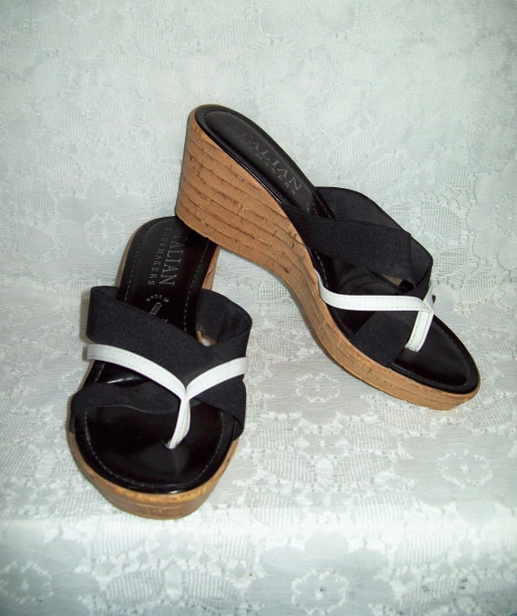 Vintage Ladies Black Patent Leather Open Toe Slides High Heel Sandals w Silver Trim by Brighton Size 7 12 Only 15 USD