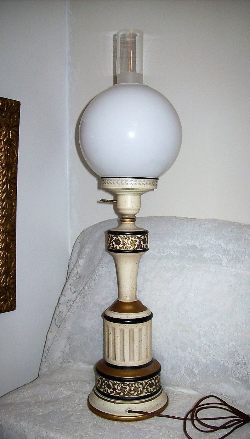 Vintage MCM Atomic White Gold Speckled Eames Era Danish Modern Style Parlor Lamp w Clear Glass Chimney /& Milk Glass Shade Only 45 USD