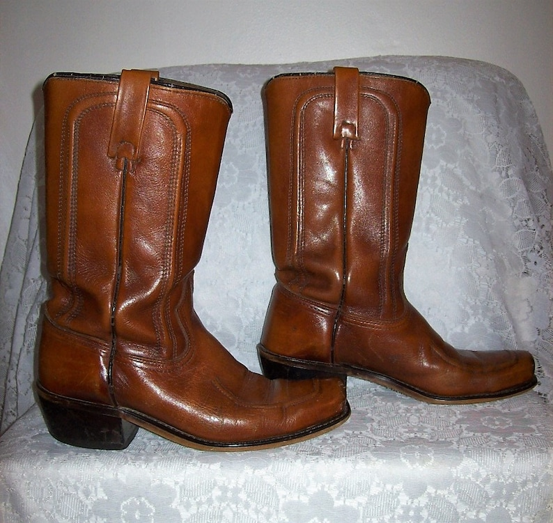 f27d45b1983 Vintage 1960s Men's ACME Brown Leather Square Toe Campus Cowboy Boots Size  7 Only 30 USD