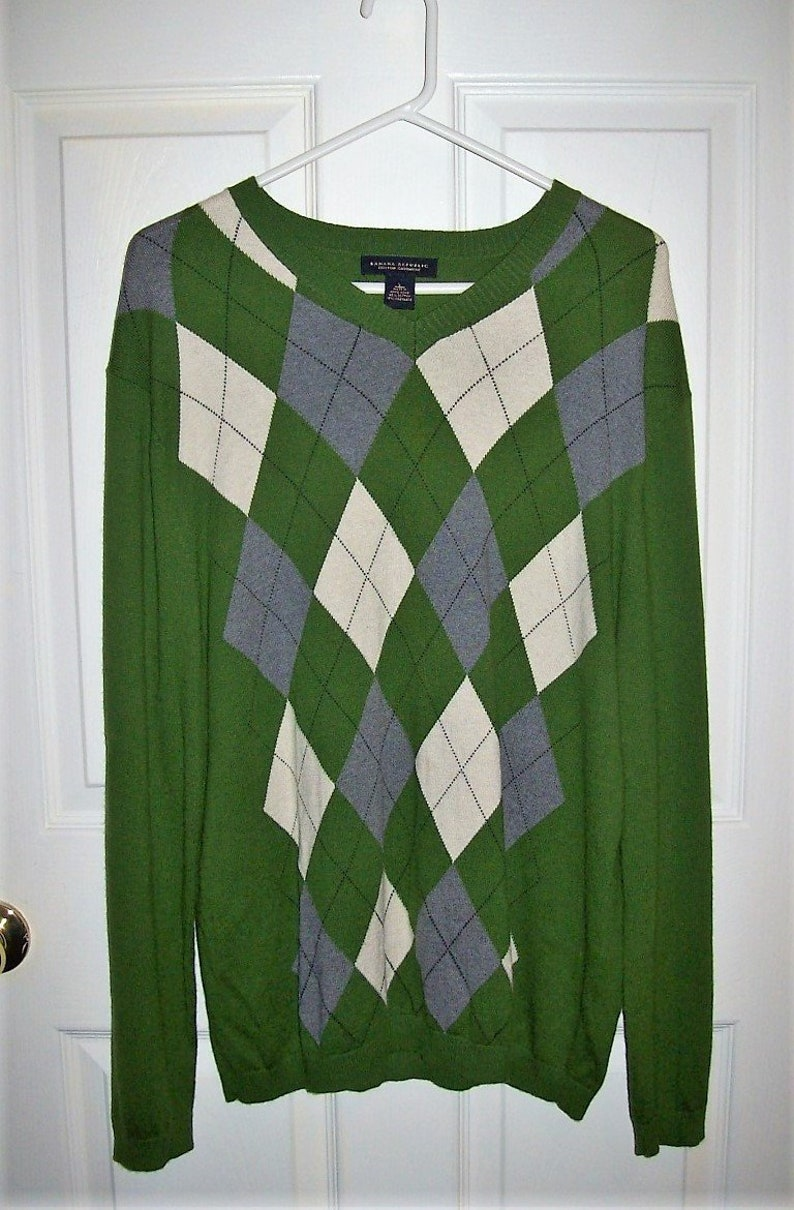 87d358e29f0 Vintage Mens Green Argyle Cotton Cashmere V Neck Pullover