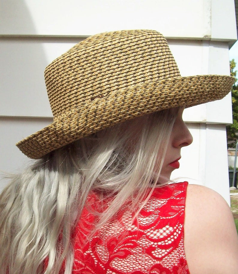 Vintage Natural Woven Sun Hat by Scala Handcrafted One Size Only 9 USD