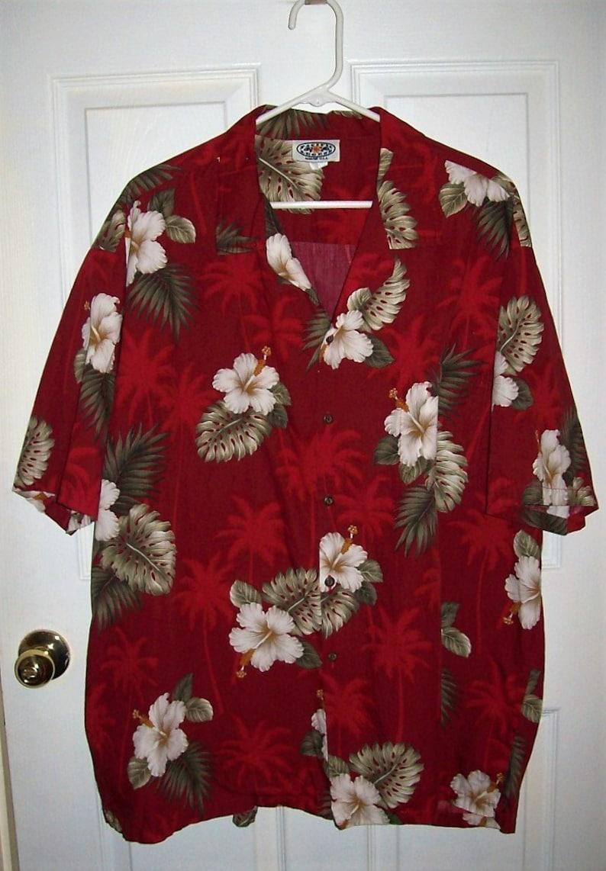 b833242bd Vintage Mens Red Tropical Print Short Sleeve Hawaiian Shirt by | Etsy