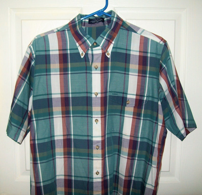 Vintage Mens Green /& Wine Plaid Short Sleeve Shirt Button Down by Glasgow Gingham Large Only 5 USD