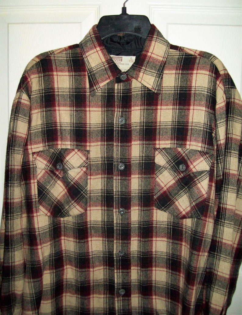 Vintage 1960s Mens Brown /& Beige Plaid Flannel Shirt by Montgomery Ward Large 16-16 12 Neck Only 12 USD