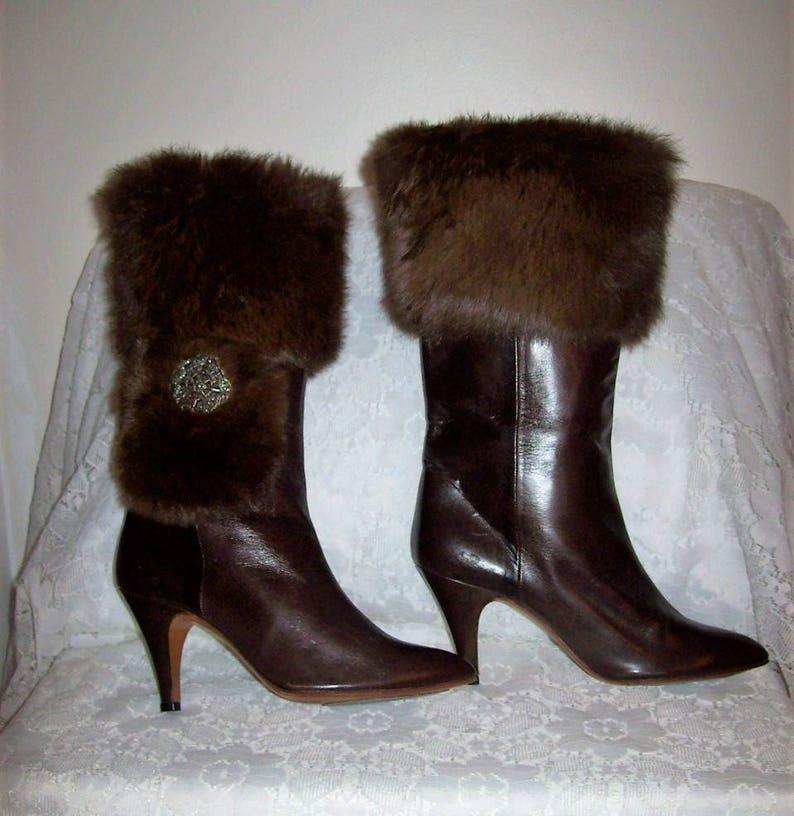 9dc538265e239 Vintage 1960s Ladies Rosina FERRAGAMO Schiavone Fur Trimmed Brown Kidskin  Leather High Heel Knee High Boots Size 6 1/2 Only 75 USD