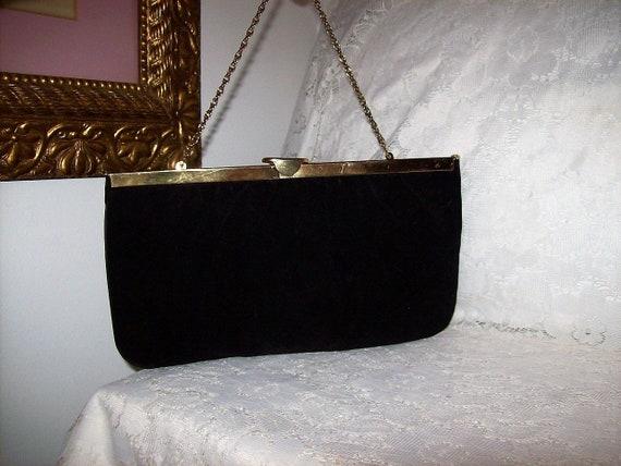 054ac14937d2 Vintage 1960s Ladies Black Velvet Clutch Bag w  Hinged Brass