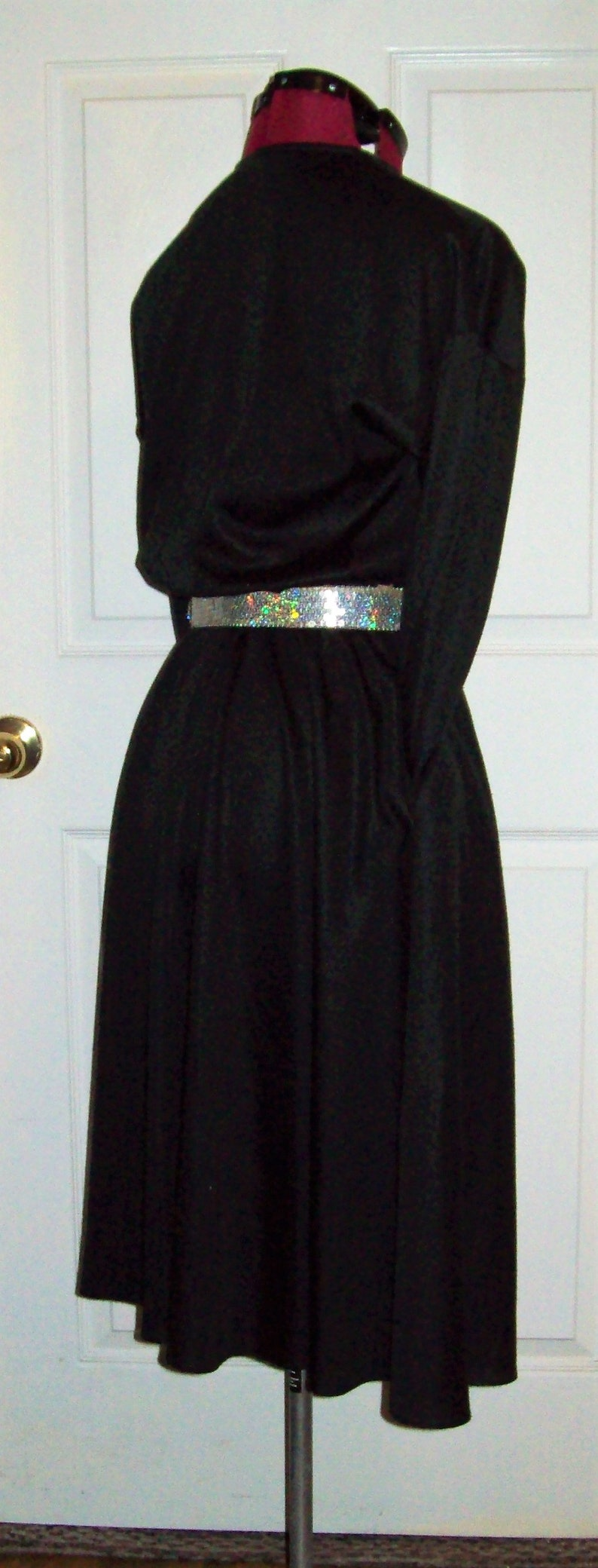 Vintage Black Flared Skirt Henley Dress w POCKETS /& Silver Sequin Belt by Rhodes Collections Inc Size 10 Modest Only 15 USD