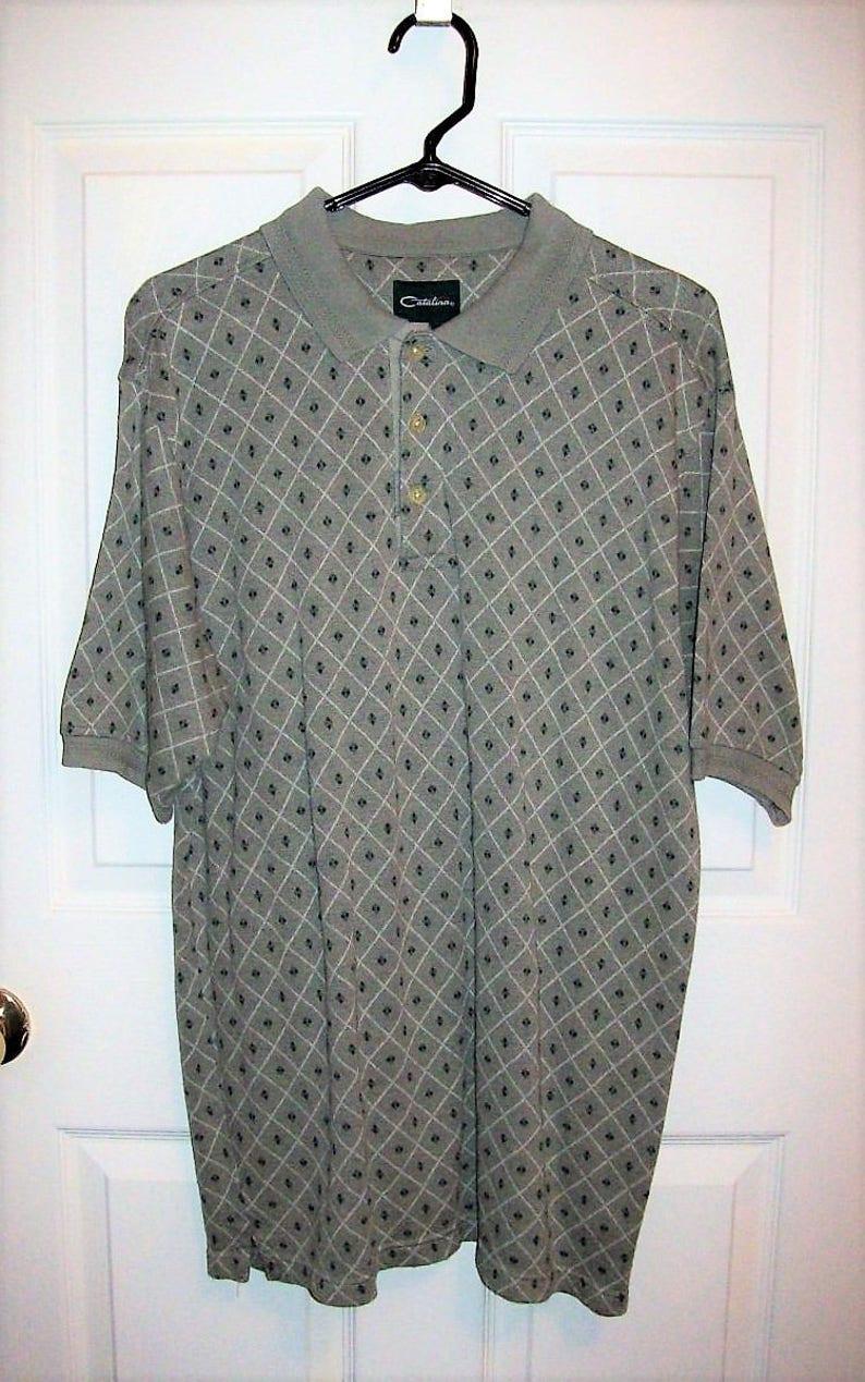 2226082b SAlE 60% Off Vintage Mens Gray Geometric Print Polo Golf Shirt | Etsy