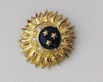 a3f9f7c3d Vintage Liz Claiborne Sun Moon Stars enameled and rhinestone brooch