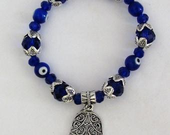 Glass Evil Eye Beads Blue Crystal and Hamsha / Hamsa Stretch Bracelet