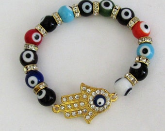 Hamsa Hamsha Evil Eye Stretch Bracelet made of Glass Crystal Rhinestone