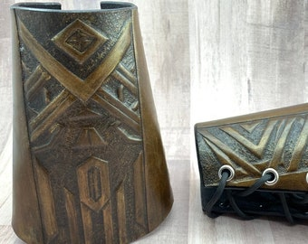 Dwarven Style Leather bracers hand made by Andrew J L Leather
