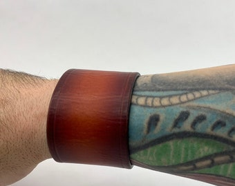 Sunset Leather Cuff with antiqued copper snaps - Ready to ship - Handmade leather bracelet - Christmas gift for him - Birthday gift for him
