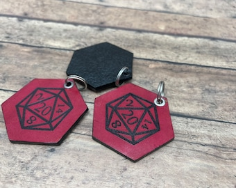 Laser Etched D20 Leather Keychain Fuchsia pink