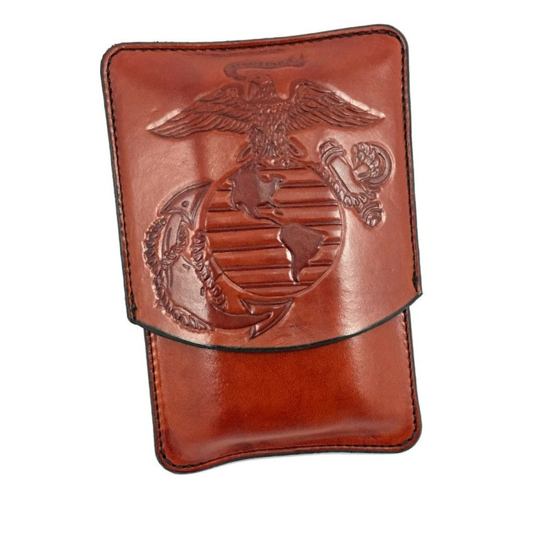 USMC Marine Corps Logo Leather Cigar Case  Spanish cedar image 0