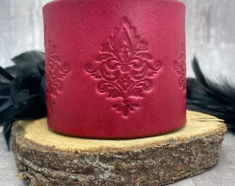 Fuchsia leather cuff bracelet with a damask design and copper snaps   For her  For him  Unisex Birthday Anniversary Dark pink
