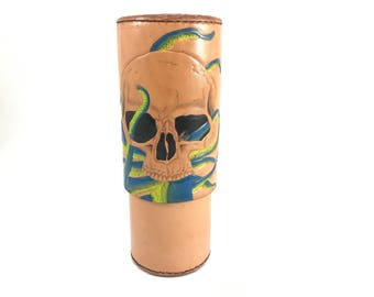 SALE! - Ready to ship Tentacle Skull CigarTube leather Cigar Case Spanish Cedar Lined Handmade in the U.S.A.