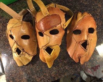 Leather skin cowhide mask handmade