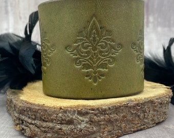 Olive green leather cuff bracelet with a damask design and copper snaps - For her - For him - Unisex Birthday - Anniversary