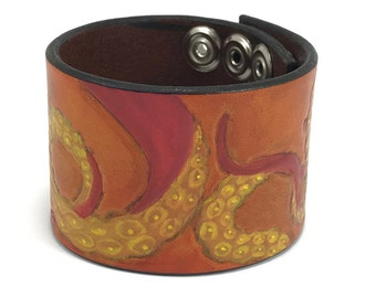 SALE! - Ready to ship Tentacle Leather Cuff Saddle Tan Yellow and Red