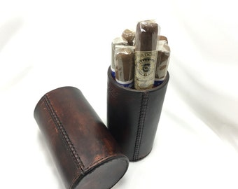 The CigarTube leather Cigar Case Spanish Cedar Lined Handmade in the U.S.A. - Unique leather gift
