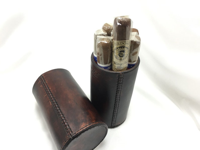 The CigarTube leather Cigar Case Spanish Cedar Lined Handmade image 0