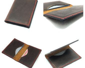 Sunset Oil Tanned Leather card wallet - holds 6. Handcrafted in the U.S.A.