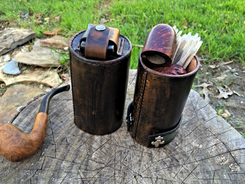 PipeTube leather pipe case with matching pipe stand Handmade image 1
