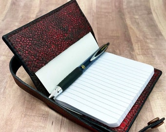 Black and Red leather mini Composition Notebook Cover handmade by Andrew J L Leather