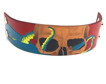 SALE! - Ready to ship Skull and Tentacle Leather Cuff
