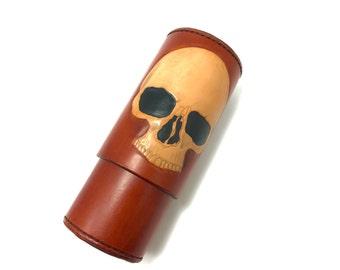 Skull CigarTube leather Cigar Case Spanish Cedar Lined Handmade in the U.S.A.