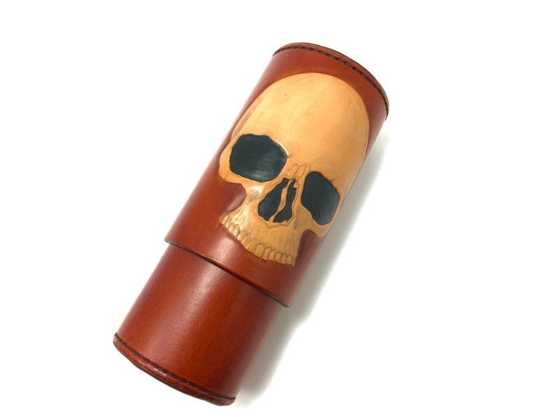 Skull CigarTube leather Cigar Case Spanish Cedar Lined image 1