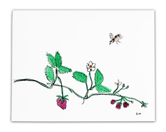 strawberry runner with bee card