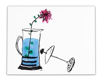 Flower in French Press Greeting Card