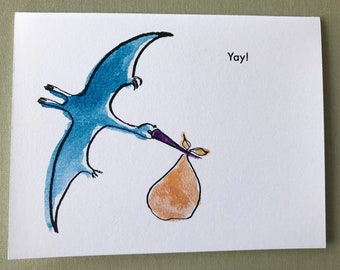Pterodactyl new baby card