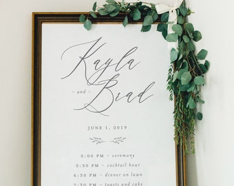 Wedding Timeline Order of Events Welcome Poster Printable