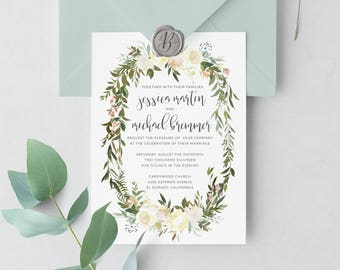 Boho Floral Wedding Invitation | Wedding Suite, Blush, White, Peony, Greenery, Laurel Wedding Invitation, Garden, Outdoor, Stationery