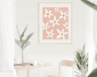 Retro Daisy Print Digital Download - Baby Girl Nursery Print, Dorm Room Bring, Kitchen Print, Mustard and Pale Pink